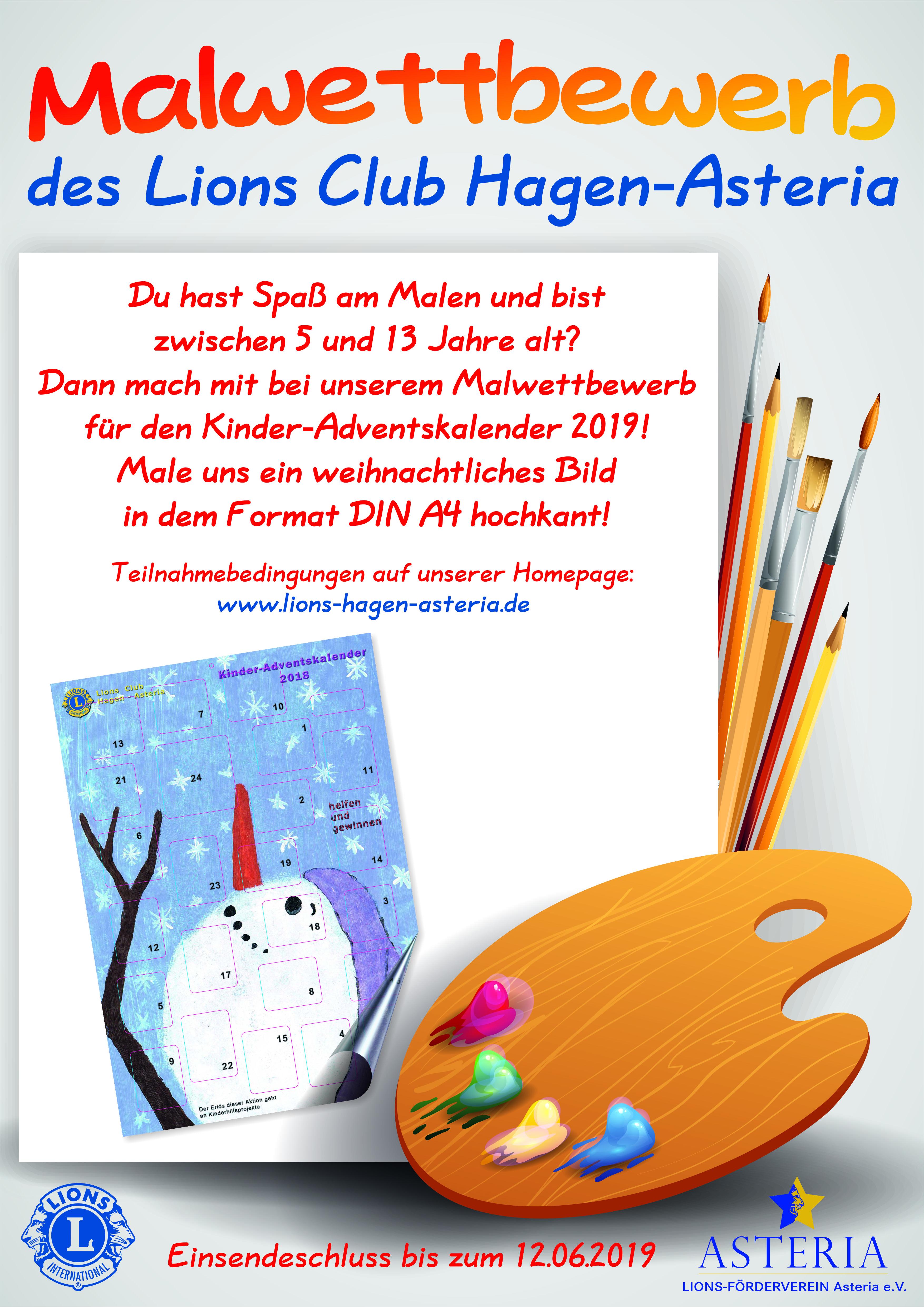 Weihnachtskalender 2019 Für Kinder.Malwettbewerb Für Den Kinder Adventskalender 2019 Lc Hagen Asteria